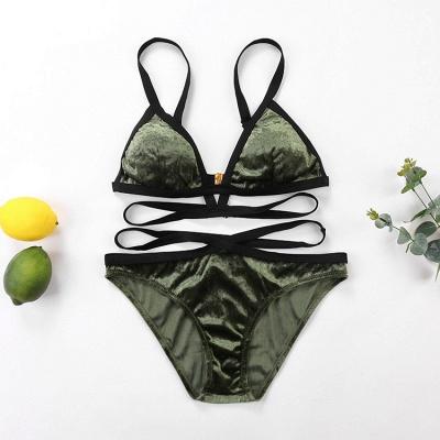 Velvet Triangle Pads  Bandage Two Piece Sexy Bikini Sets_5