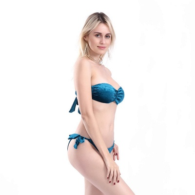 Sweetheart Strapless Bandage Velvet Two Piece Sexy Bikini Swimwear_14