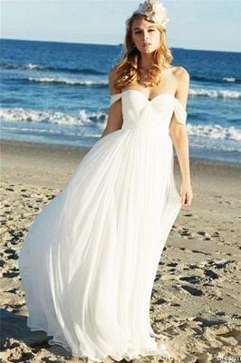 Simple Casual Off-the-Shoulder Ruffled Chiffon Beach Wedding Dresses_1