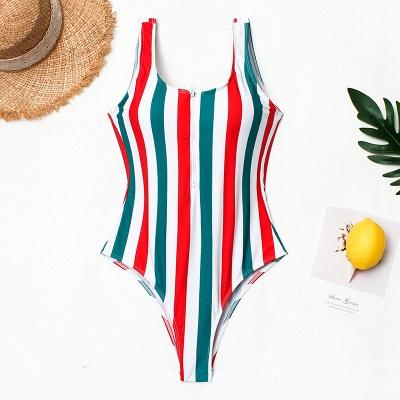 One Piece Zipper Stripes Straps Swimwear Suits_3