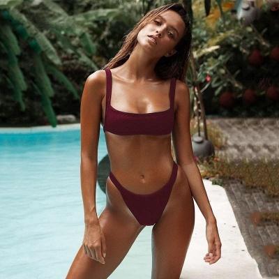 Simple Square Spaghetti Straps Two Piece Sexy Bikini Sets_9