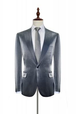 Hot Recommend Grey Velvet Custom Wedding Suit For Groom | Peak lapel Single Breasted 2 Pocket Formal Men Suits_3