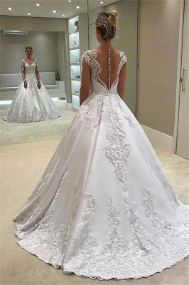 Elegant Long-Sleeves Ball-Gown Appliques Bridal Gown_2