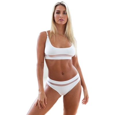Simple Two Piece Hollow Out Mesh Sexy Bikini Sets_6