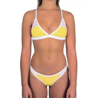 Triangle Pads Colorful Plain Sheer Net Sexy Bikini Sets_7