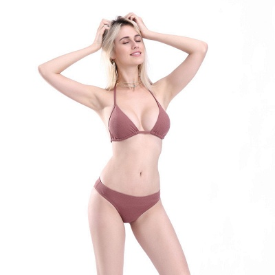 Plain Triangle Pads Halter Two Piece Sexy Bikini Sets_10