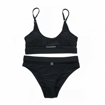 Simple Two Piece Hollow Out Mesh Sexy Bikini Sets_5