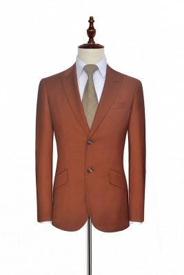 New Arrival Rust Red Two Button Custom Suit For Office | Single Breasted Peaked Lapel Tailoring Suit_3