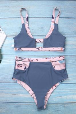 Flower Prints Pink Two Piece Lovely Sexy Bikini Swimwear_5
