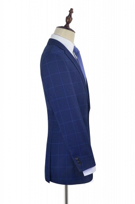 Blue Plaid Notched Lapel Custom Suit for Men | Latest Design Single Breasted Two Pockets Hand Made Men Suit_5
