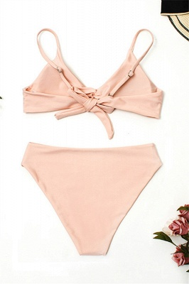 Vintage Nude Pink Knot Straps Two Piece Sexy Bikinis_3