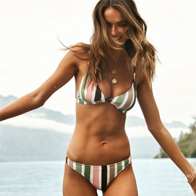 Colorful Stripes Triangle Pads Two Piece Sexy Bikini Sets_6