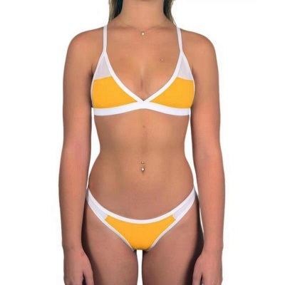 Triangle Pads Colorful Plain Sheer Net Sexy Bikini Sets_25