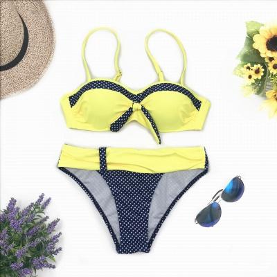 Yellow Sweetheart Spaghetti Two Piece Sexy Bikini Sets_5