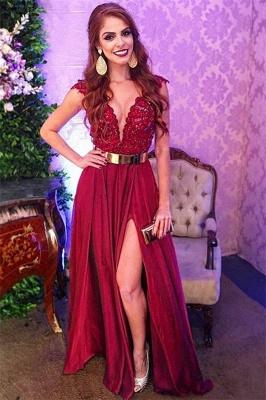 Gorgeous Burgundy Straps V-Neck Applique Side-Slit  Prom Dress_1