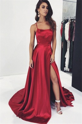 Sexy Burgundy Spaghetti-Straps Side-Slit A-Line Prom Dress_1