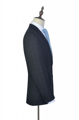 Black Checked Wool Three Slant Pocket Classic Suit For Men | Single Breasted Peaked Lapel Made to Measure Men Business Suit_5