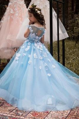 Lovely Wholesale Tulle Square Neckline Tea-length A-line Ice Blue Flower Girl Dress_3