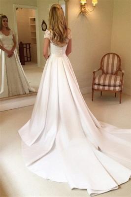 Beautiful Appliques Cap Sleeves A-line Wedding Dresses_2
