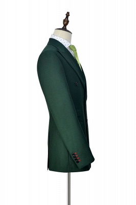 Green Double Breasted Tailored Suit For Formal   Peaked Lapel 3 Pockets Custom Made Causal Suit_5