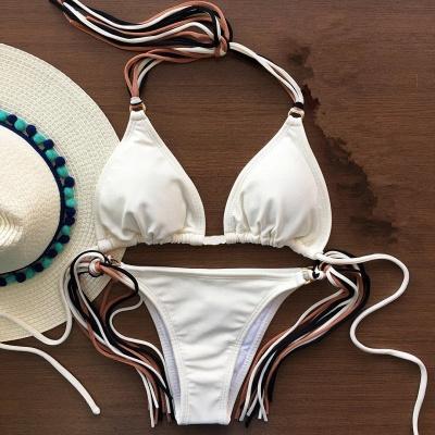 Triangle Pads Halter Straps Multicolor Two Piece Sexy Bikini Sets_12