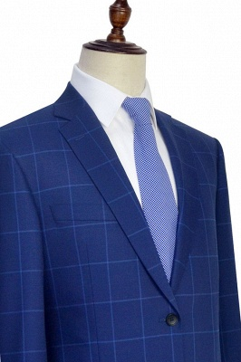 Blue Plaid Notched Lapel Custom Suit for Men | Latest Design Single Breasted Two Pockets Hand Made Men Suit_6