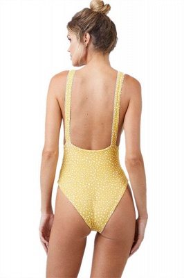 Yellow V-neck Knot One Piece Open Back Bathing Suits_5
