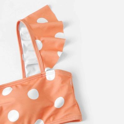 White Dots Pink Bandeau Two Piece Sexy Bikini Swimsuits_3