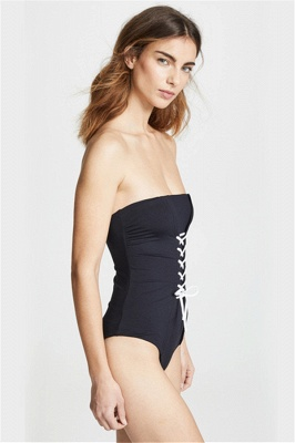 Convertible Black One Piece Lace-up  Swimsuits_5