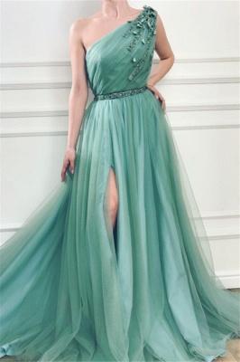 Gorgeous Appliques One-Shoulder Side Slit  A-Line Prom Dresses_1