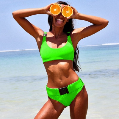 Plain Scoop Colorful Two Piece Buckled Sexy Bikini Swimsuits_14