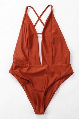 Kwyhole V-neck Criss-cross High Waist Swimsuits_7