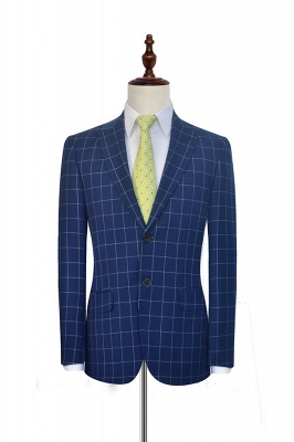 Newly Deep Blue Grid Wool Peak Lapel Custom Made Suit | Single Breasted Two Button Unique Wedding Suit For Groom_3
