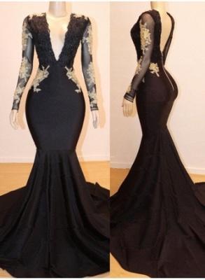 Long Sleeves Appliques Sexy Mermaid V-neck Long Prom Dresses_1