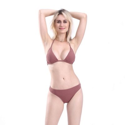 Plain Triangle Pads Halter Two Piece Sexy Bikini Sets_13
