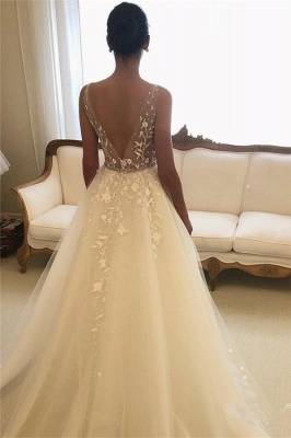 Glamorous Straps Applique Wedding Dresses with ribbons_2