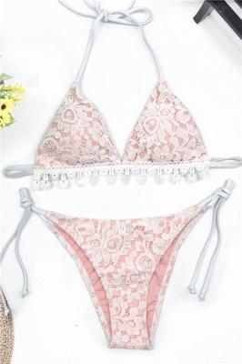 Cute Lace V-neck Two Piece Bandage Sexy Bikini Swimwear_8