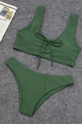 Plain Straps Lace-up Two Piece High Waist Sexy Bikini Sets_3