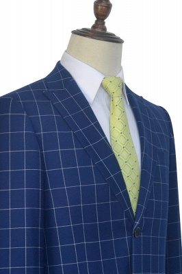 Newly Deep Blue Grid Wool Peak Lapel Custom Made Suit | Single Breasted Two Button Unique Wedding Suit For Groom_6