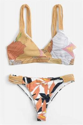 Painted Prints Straps Two Piece Sexy Bikini Sets