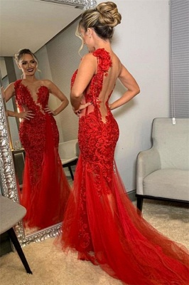 Burgundy One-Shoulder Lace Appliques Applique Backless Sexy Mermaid Tullle Prom Dresses_2