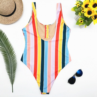 One Piece Buttons Straps Colorful Stripes Swimwear_3