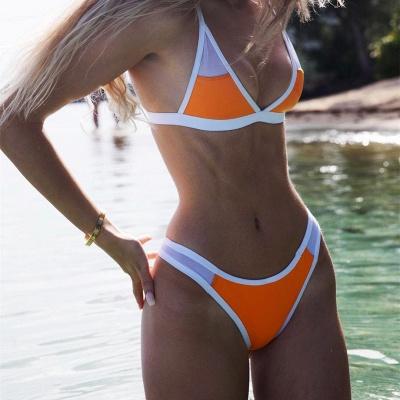 Triangle Pads Colorful Plain Sheer Net Sexy Bikini Sets_16