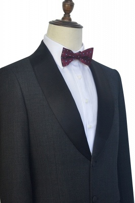 Dark Grey Black Shawl Lapel Two Bottons Wedding Suit For Groom | Hot Recommend Single Breasted Tailored 2 Piece Suits_6