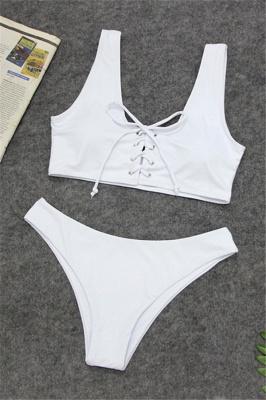 Plain Straps Lace-up Two Piece High Waist Sexy Bikini Sets_1