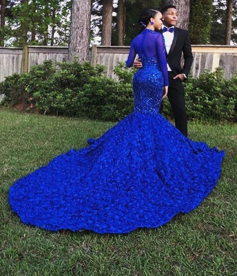 Glamorous Royal Blue Long-Sleeves Hign-Neck Flower Applique Sexy Mermaid Evening Gown_2