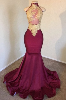 Burgundy High-Neck Applique Sleevless Sexy Mermaid Prom Dresses_1