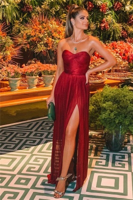 Sexy Burgundy Strapless Side-Slit A-Line Long Prom Dresses_2