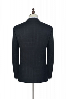 Black Checked Wool Three Slant Pocket Classic Suit For Men | Single Breasted Peaked Lapel Made to Measure Men Business Suit_4