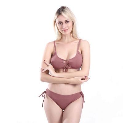 Spaghetti Straps Lace-up Bras Two Piece Sexy Bikini Swimsuits_9